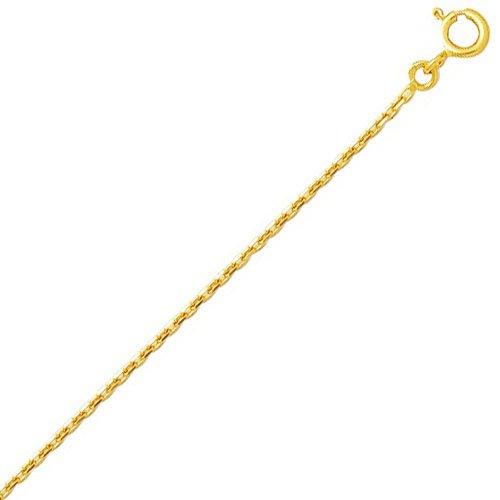 So Chic Bijoux © Chaîne Collier Longueur 40 cm Maille Forçat Diamantée 1,3 mm Or Jaune 750/000 (18 carats)