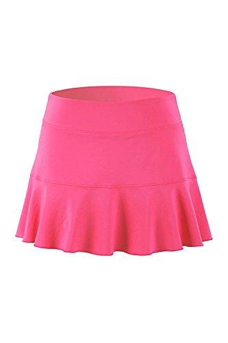 (32e-SANERYI Women's Basic Elastic Tennis Skirt with Shorts Golf Skort(sk25,S,Rose Red))