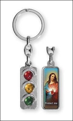 Sagrado Corazón de Jesús Semáforo Llavero Llavero: Amazon.es ...