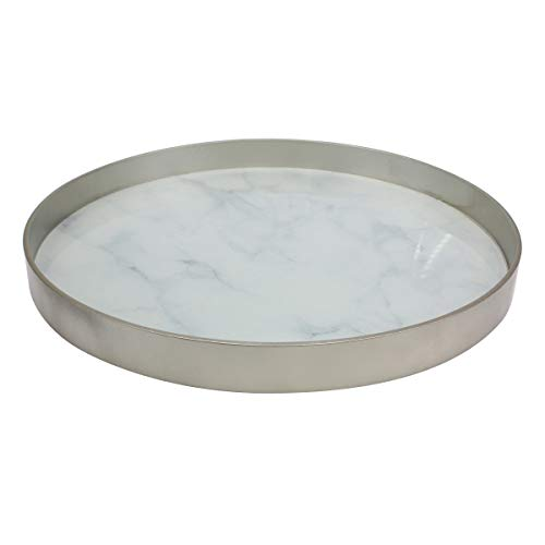 Stonebriar Round Silver Wood and White Marble Glass Serving Tray, Decorative Centerpiece for Dining Table or Coffee Table (Table Tray Silver Coffee)