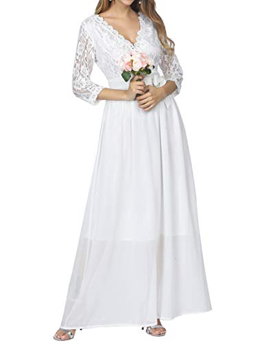 PARTY LADY Women's Vintage Lace Evening Party Wedding Long Dress Floral Maxi Dress Size XL White
