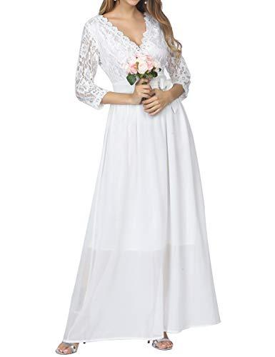 PARTY LADY Women's Vintage Lace Evening Party Wedding Long Dress Floral Maxi Dress Size XL White