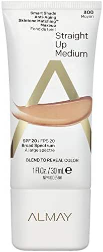 Almay Smart Shade Anti-Aging Skintone Matching Makeup, Straight Up Medium, Foundation, Hypoallergenic, Dermatologist-tested, SPF 20, 1 Fl. Oz.