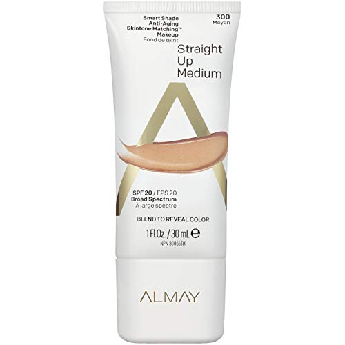 Almay Smart Shade Anti-Aging Skintone Matching Makeup, Straight Up Medium, Foundation, Hypoallergenic, Dermatologist-tested, SPF 20, 1 Fl. Oz.