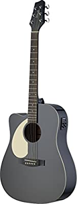 Starion ST-SA30DCE-BK LH Left Handed Auditorium Cutaway Acoustic-Electric Guitar - Black
