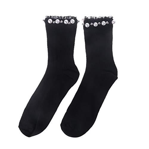 - RingBuu Women Socks - Lady Trendy Spring Socks Black Lace Rib Pearl Rivet Simple Fashion Leisure