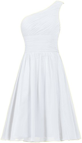 ANTS Women's Chiffon One Shoulder Bridesmaid Dresses Short Evening Dress Size 12 US White (One White Chiffon Dress Shoulder)