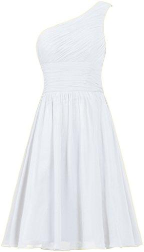 ANTS Women's Chiffon One Shoulder Bridesmaid Dresses Short Evening Dress Size 12 US White (Dress Chiffon One White Shoulder)