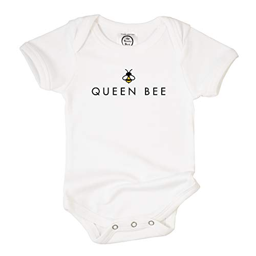The Spunky Stork Queen Bee Organic Cotton Baby Bodysuit (3-6M) White ()