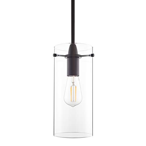 Light Chandelier Mini Four Bronze (Effimero Large Hanging Pendant Light | Black Kitchen Island Light, Clear Glass Shade LL-P315-BLK)