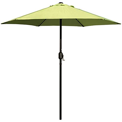 ABBLE Outdoor Patio Umbrella 7.5 Ft with Crank, Weather Resistant, UV Protective Umbrella, Durable, 6 Sturdy Steel Ribs, Market Outdoor Table Umbrella, Lime Green (Green Umbrella Lime)