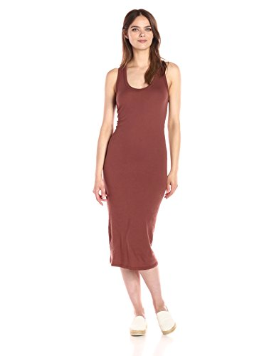 Enza Costa Women's Open Cotton Jersey Bold Racer Tank Midi Dress, Sable, M