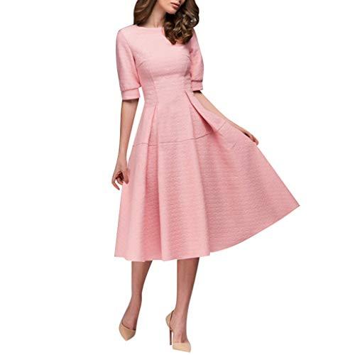Goddessvan Women Vintage Printing Long Dress A-line Elegant Ruffles Short Sleeve Knee-Length Dress Pink ()