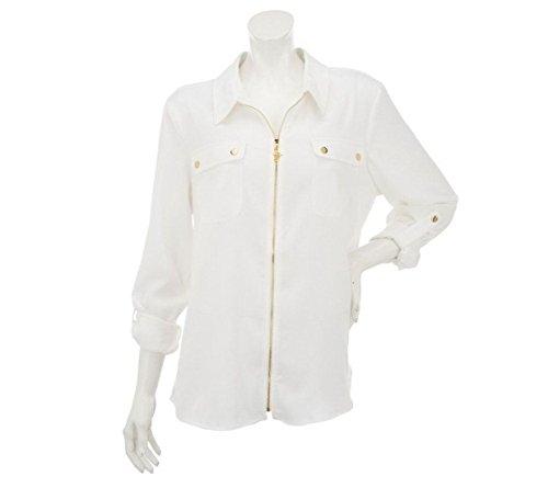 Peachskin Jacket - Susan Graver Chic Stretch Peachskin Jacket Gold Snap Antique White 2# A231253