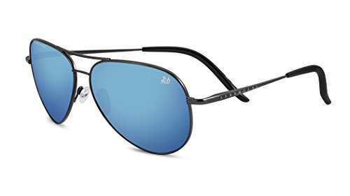 Serengeti Satin Sunglasses - Serengeti Eyewear Panarea 24h Le Satin Dark Gun Polarized 555nm Blue Lens - 8486 (satin dark gun polarized 555 NM blue mirror, one size)