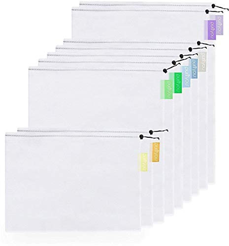 purifyou Premium Reusable Mesh/Produce Bags, Set of 9 | Superior Double-Stitched Strength, with Tare Weight on Tags | Lightweight, See-Through, Large, Medium & Small (Things Made From Waste Material At Home)