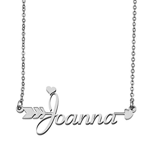 - Aoloshow Customized Custom Name Necklace Personalized - Custom Joanna Initial Name Handwriting Nameplate Necklace Arrow Pendant Gift for Womens Girls