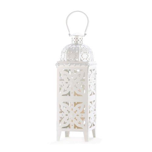 Gifts & Decor Medallion Cutout Giant Size White Candle Holder Lantern