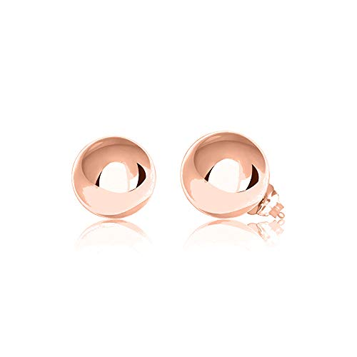 Verona Jewelers Womens Sterling Silver Post Ball Stud Earrings- Bead Ball Stud Earrings for Women 2-12MM (9) (Rose Gold, 9)