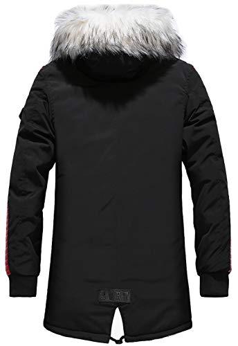 FGYYG Hiver Long À Capuche Parka Manteau Homme Épais Fourrure avec Capuche Rembourrée Veste Coat