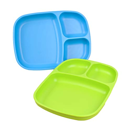 - Re-Play Made in USA 2pk Large Sandwich Divided Plates with Deep Sides and Three Compartments for Easy Self Feeding - Sky Blue/Lime Green