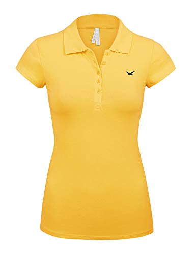 Women's Short Sleeve Yellow Color 5 Buttons Slim Fit Polo Shirts(3000-YELLOW-S)
