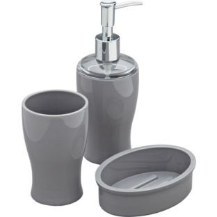 colourmatch bathroom accessories set smoke grey set includes lotion dispenser soap dish and