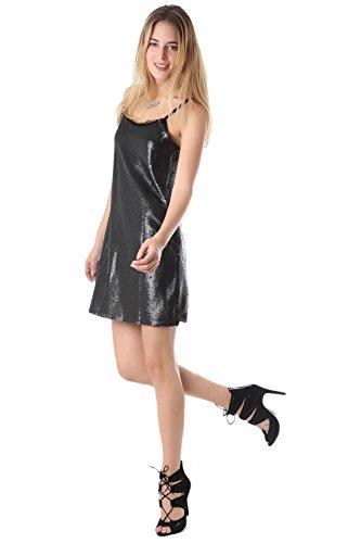 Q2 Mujer Minivestido de tirantes con lentejuelas negras