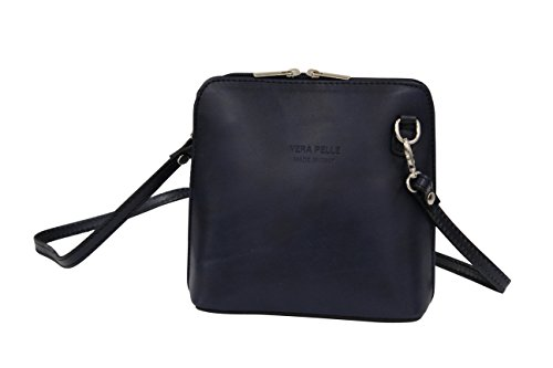 bag Blue Small body leather VL508 shoulder disco Moda Handbag bag Cross AMBRA Women's Dark bag bag Bqw8xZRA