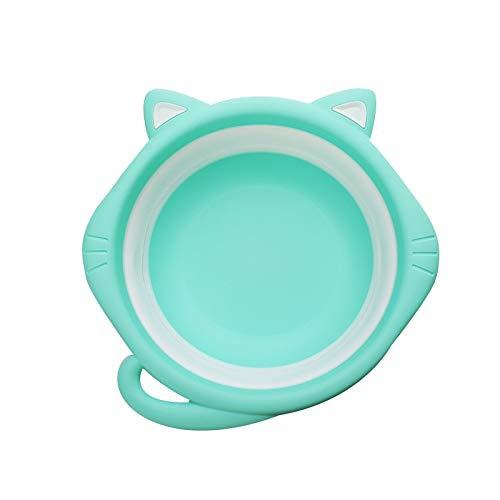 DENTRUN Cat Ear Shape Collapsible Baby Kids Wash Basin Folding Newborn Children Washbasin Tub Heat Resistant for Outdoor Travel Camping Portable -