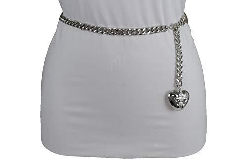 Women Hip Waist Silver Metal Chain Fashion Belt Love Heart Buckle Charm XS S M by RIX Fashion Luxury (Image #4)'
