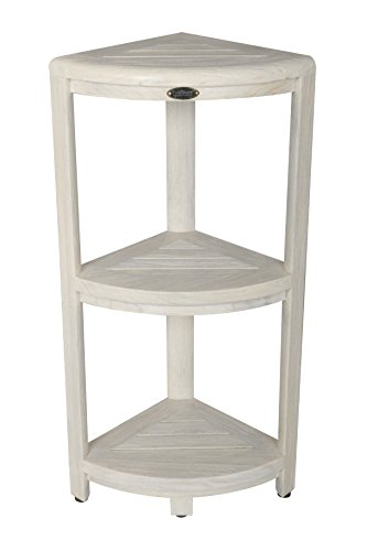EcoDecors Coastal Vogue White Wash Oasis 3-Tier Teak Corner Shower Shelf by EcoDecors