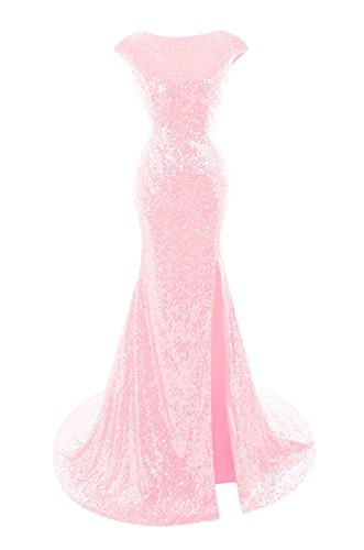 Cap Mermaid Sleeve Prom Dresses Blushing Evening Women's Sequins Bess Pink Bridal Gown YwRtIE