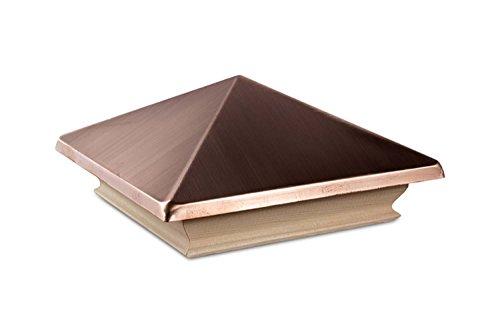 Woodway Copper Pyramid 5.25 x 5.25 Post Cap - Premium Cedar Wood Base Post Cap, Newel Post Top Fits Up To 5.125 x 5.125 Inch Post, 1PC ()