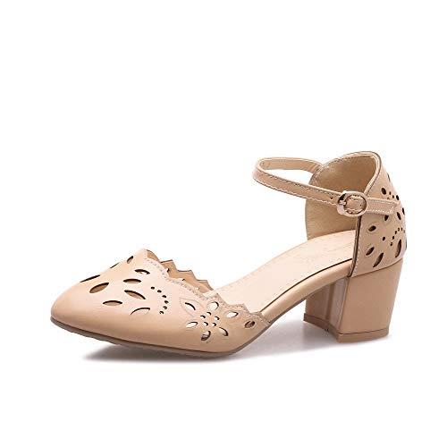 VogueZone009 Women Buckle PU Closed-Toe Kitten-Heels Solid Sandals apricot