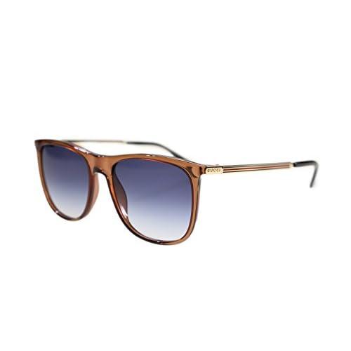 484f872b19d732 high-quality Gucci Men's Sunglasses GG1129 VKG Brown Gold/Dark Blue  Gradient Lens Rectangular