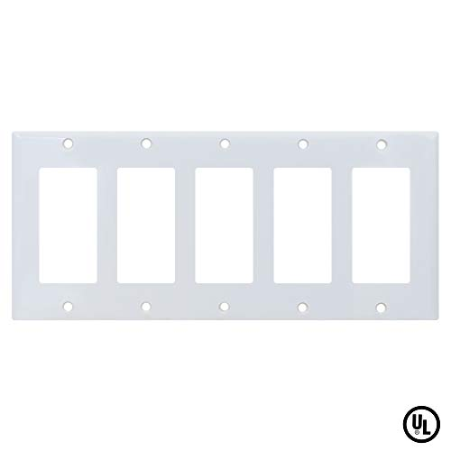 ESD Tech Wall Plate Covers for Light Switches and Outlets 5-Gang Standard Size Faceplate. Decora. Fits Paddle, Rocker, and Receptacles. Unbreakable, UL -