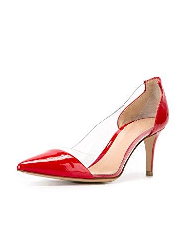 Transparent EDEFS Pumps Schuhe Damenschuhe Rot Hochzeit Rutsch Party Mid Kitten Heel Heels xffHFwIq