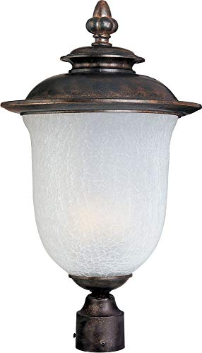 Maxim 85191FCCH Cambria EE 1-Light Outdoor Pole/Post Lantern, Chocolate Finish, Frost Crackle Glass, GU24 Fluorescent Fluorescent Bulb , 40W Max., Damp Safety Rating, Standard Dimmable, Glass Shade Material, 1344 Rated Lumens (Maxims Chocolate)