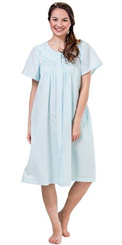 Turquoise Seersucker - Miss Elaine Women's Seersucker Short Snap Robe, Turquoise, Large
