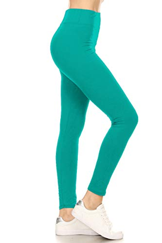 LYR128-JADE Yoga Solid Leggings, One Size -