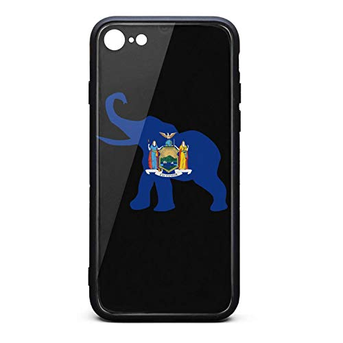 Classic Republican Elephant - Phone Case for iPhone8/iPhone7 Classic New York Republican Elephant Flag Tempered Glass Black Anti-Scratch TPU Rubber Bumper Shock Protector for Woman Back Cover
