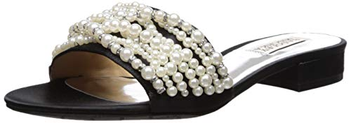 Badgley Mischka Women's Florentina Slide Sandal, Black Satin, 9 M US