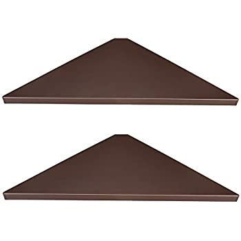 Evron Corner Mounting Shelf,Easy to Install Wall Corner Shelf,Set of 2 (Brown Wooden Striped with Hole Pattern)