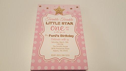 Twinkle twinkle little star birthday invitation -