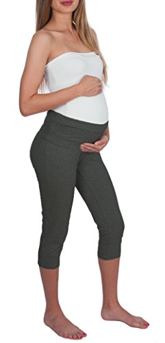 My Bella Mama Maternity Capri Leggings (Small, Heather ()