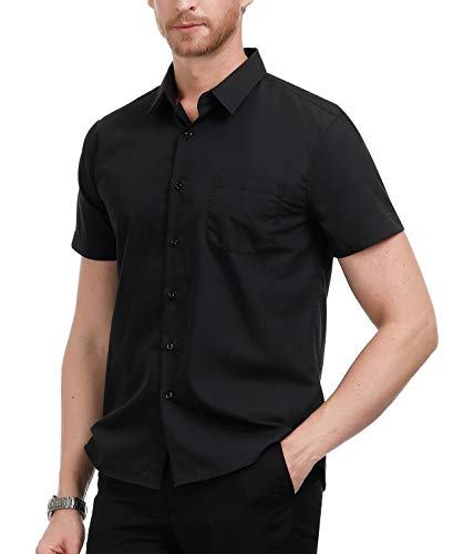 PAUL JONES Black Untucked Shirts for Men Short Sleeve Button Down Shirt Black, Size XXL