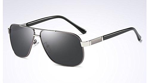 soleil Lunettes mode Lunettes gray Hommes gray Lunettes de de Sunglasses silver conduite Hommes TL soleil de de polarisées 5qUn17x7t