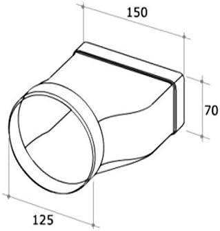 Tubo Campana Cocina Junta rectangular redonda 150 x 70 mm Diámetro 125 mm f 128: Amazon.es: Hogar