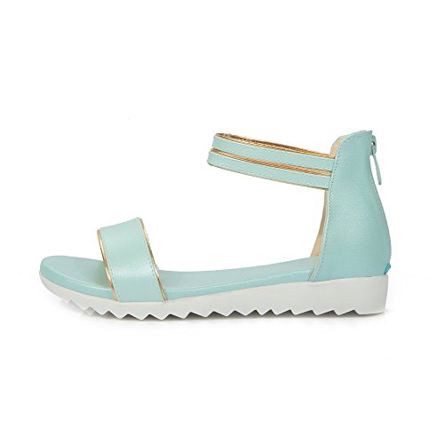 Heels Women's VogueZone009 Soft Low Blue Toe Zipper Sandals Material Solid Open gOqwqTrxdI